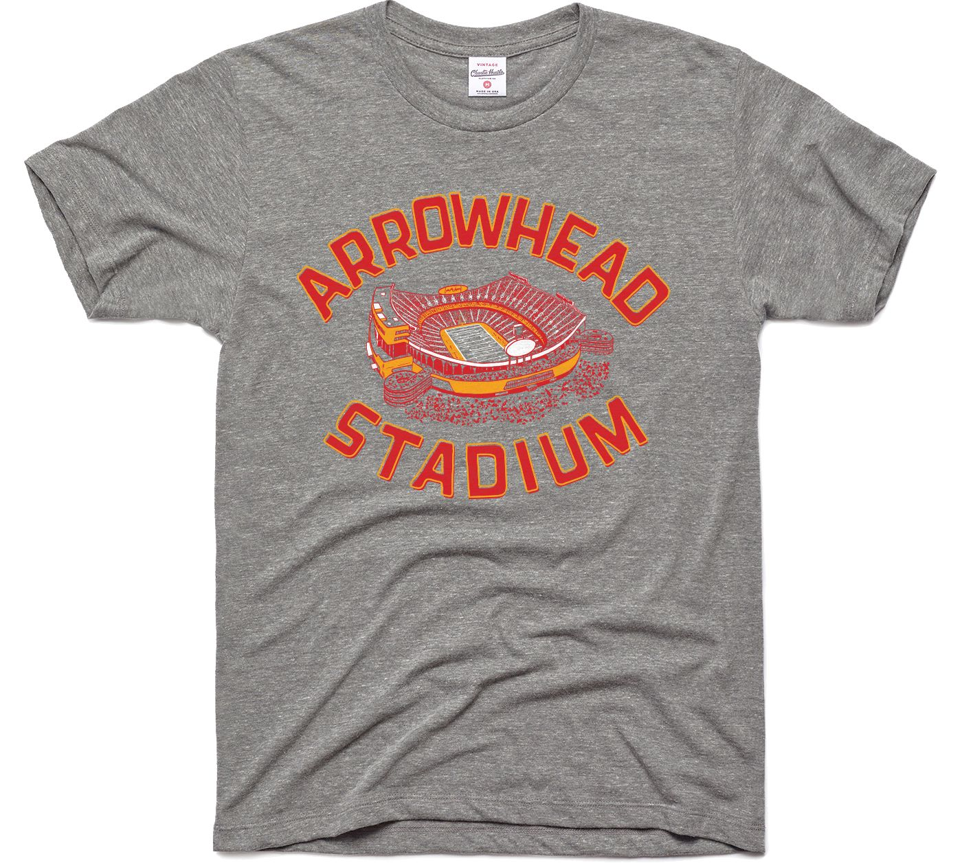 Charlie Hustle Men's Arrowhead Stadium Vintage Grey T-Shirt