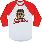Charlie Hustle Men's Showtime Mahomes Red Raglan Shirt