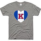 Charlie Hustle Men's Kansas Jayhawks Grey Heart T-Shirt