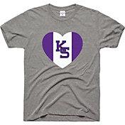 Charlie Hustle Men's Kansas State Wildcats Grey Heart T-Shirt