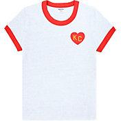 Charlie Hustle Women's KC Heart Ringer White T-Shirt