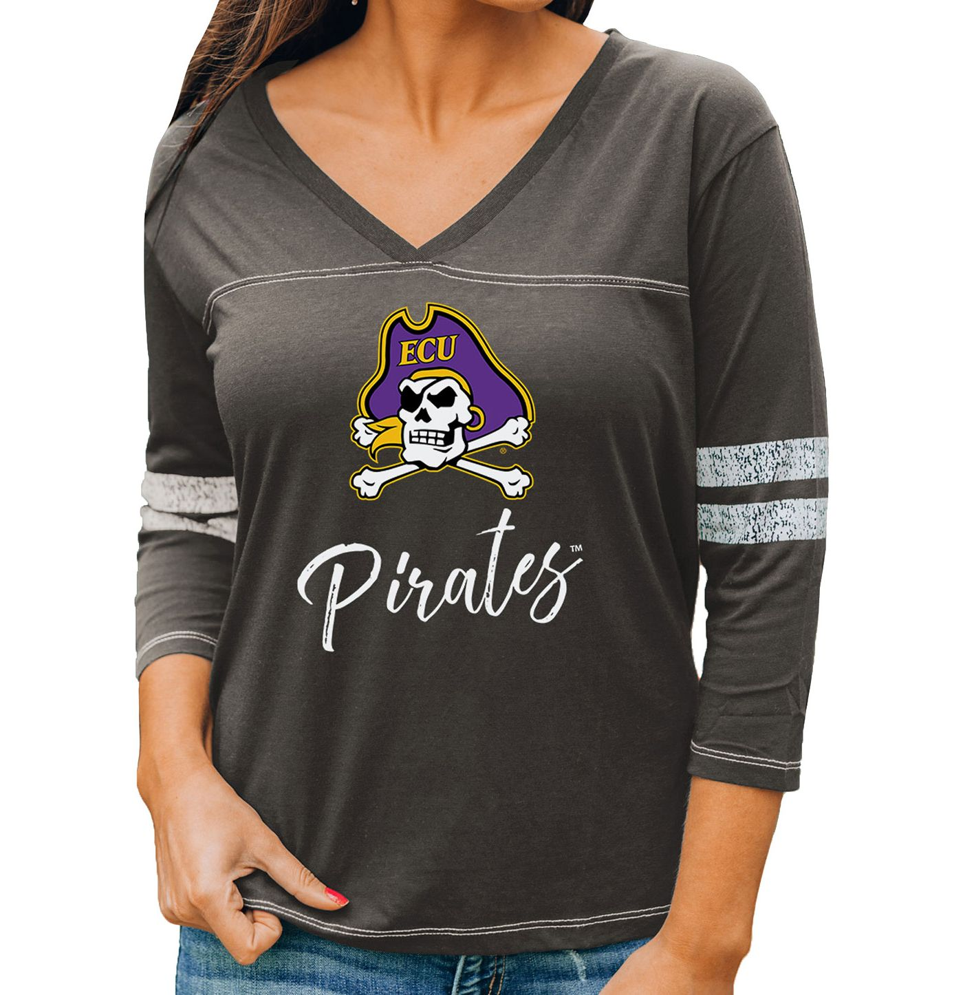 Gameday Couture Women's East Carolina Pirates Grey ¾ Sleeve Sport T-Shirt