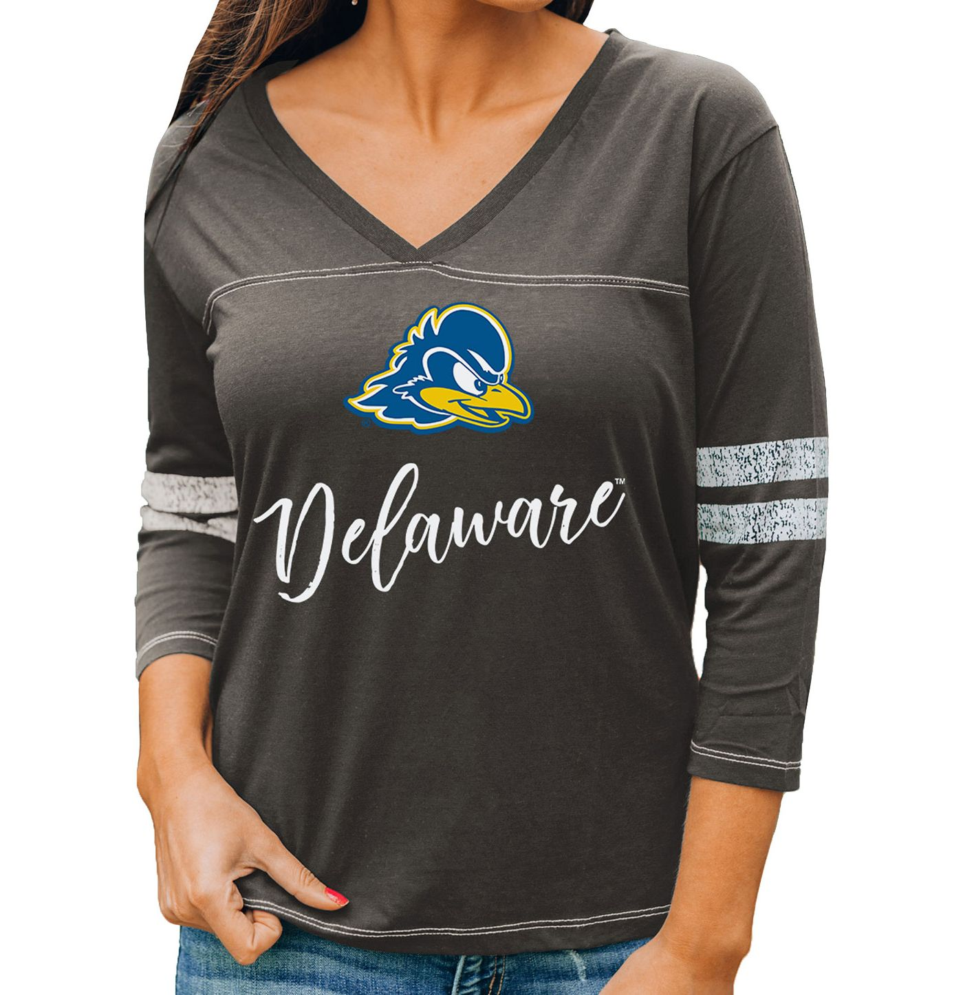 Gameday Couture Women's Delaware Fightin' Blue Hens Grey ¾ Sleeve Sport T-Shirt