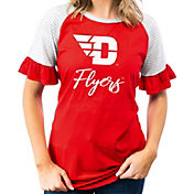 Gameday Couture Women's Dayton Flyers Red Striped Ruffle Sleeve T-Shirt