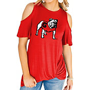 Gameday Couture Women's Georgia Bulldogs Red Alma Mater Cold Shoulder T-Shirt
