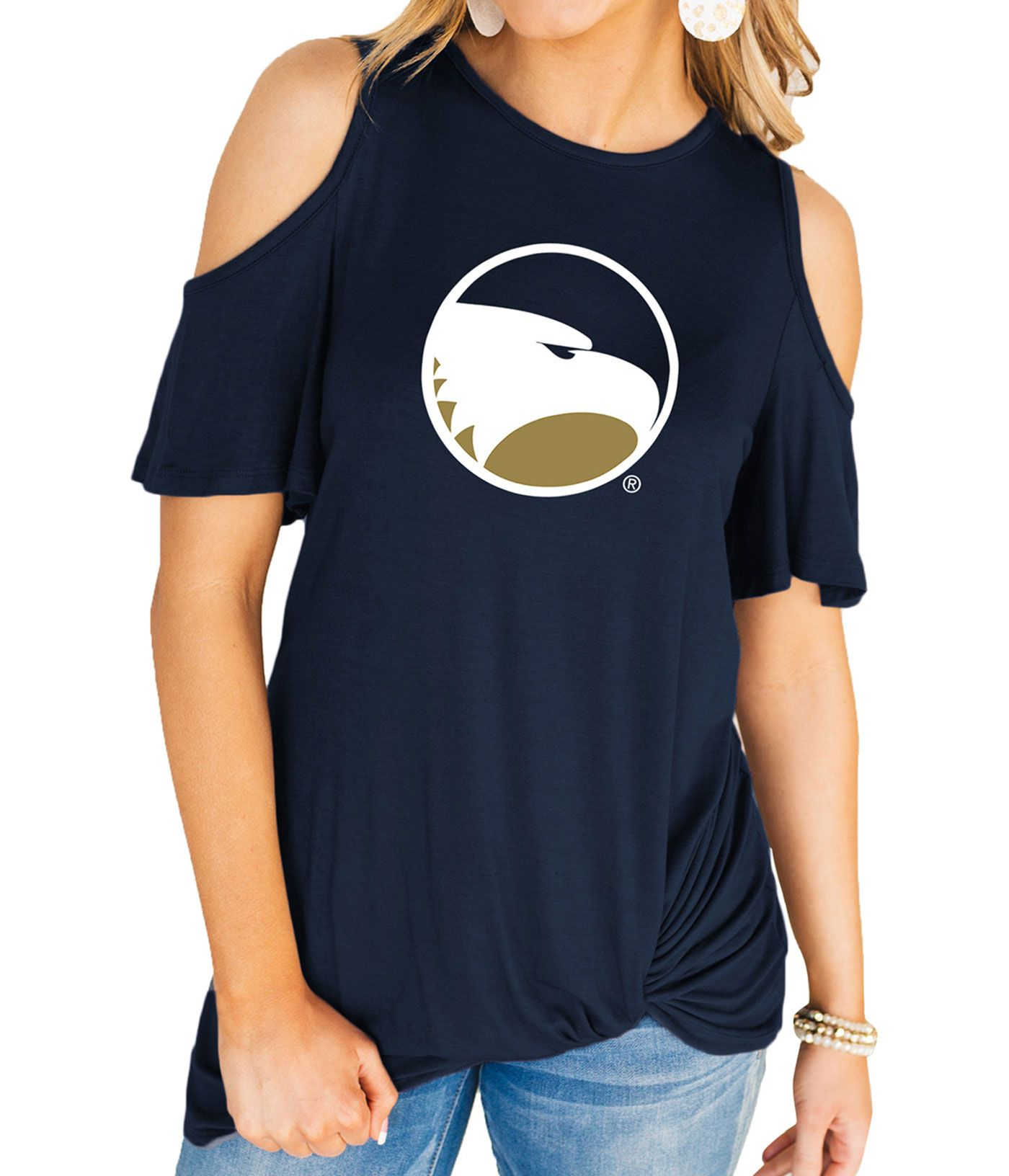 Gameday Couture Women's Georgia Southern Eagles Navy Alma Mater Cold Shoulder T-Shirt