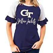 Gameday Couture Women's Georgia Tech Yellow Jackets Navy Striped Ruffle Sleeve T-Shirt