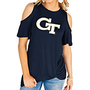 Gameday Couture Women's Georgia Tech Yellow Jackets Navy Alma Mater Cold Shoulder T-Shirt