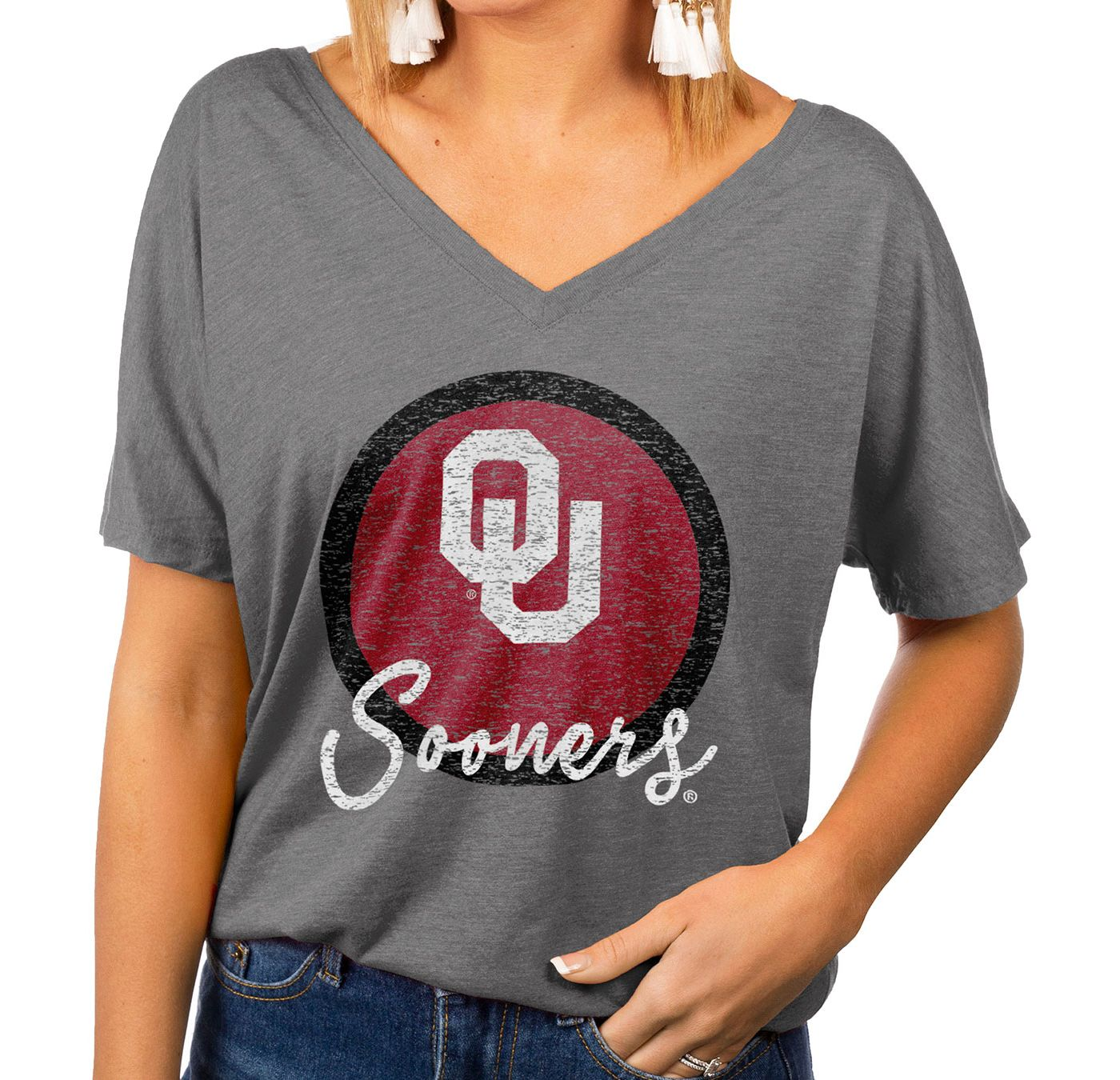 Gameday Couture Women's Oklahoma Sooners Grey Subtle Dolman Sleeve V-Neck T-Shirt