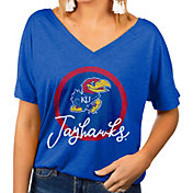 Gameday Couture Women's Kansas Jayhawks Blue Subtle Dolman Sleeve V-Neck T-Shirt