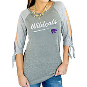 Gameday Couture Women's Kansas State Wildcats Grey Tie ¾ Sleeve Raglan Shirt