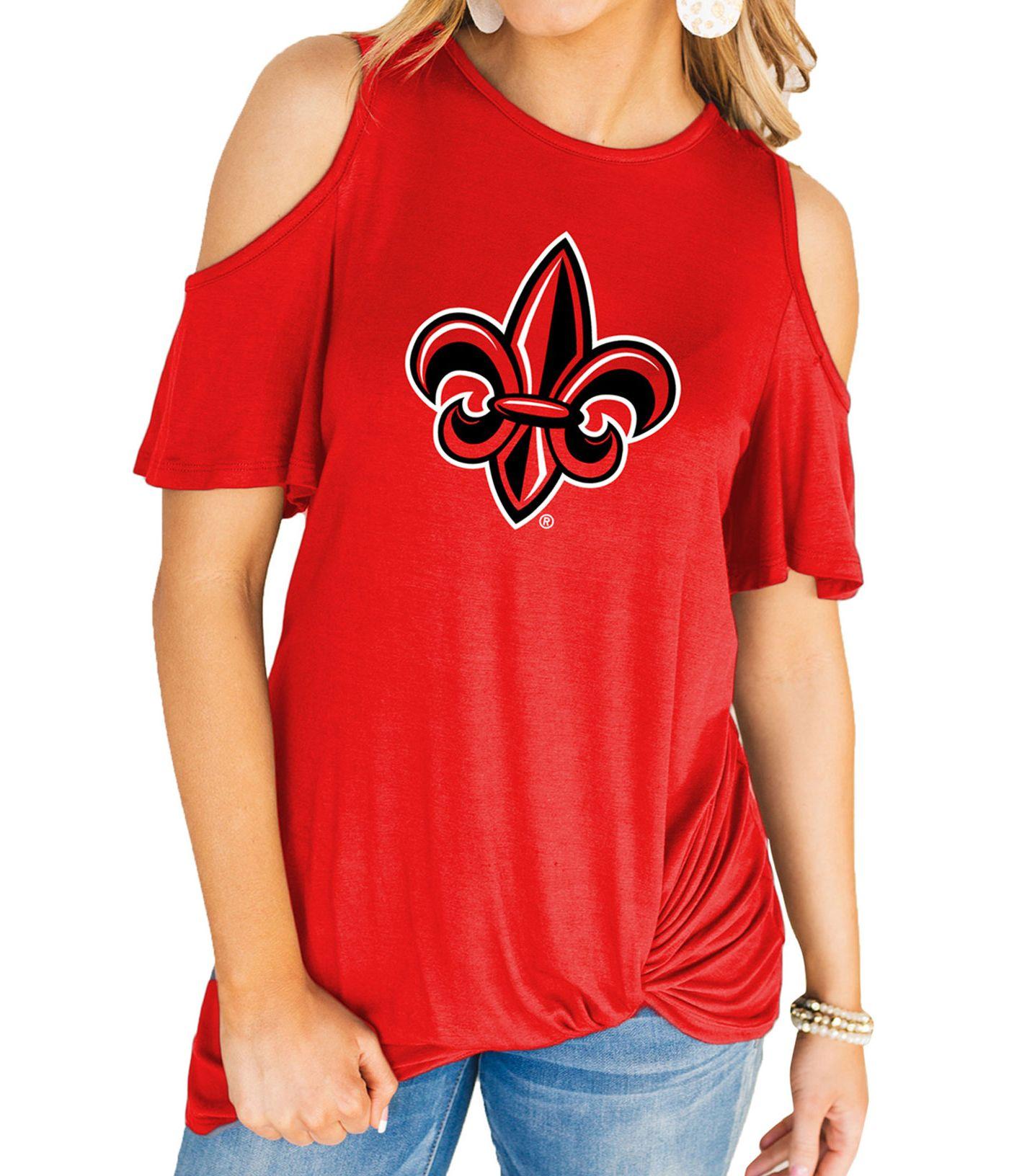 Gameday Couture Women's Louisiana-Lafayette Ragin' Cajuns Red Alma Mater Cold Shoulder T-Shirt