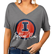 Gameday Couture Women's Illinois Fighting Illini Grey Subtle Dolman Sleeve V-Neck T-Shirt