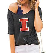 Gameday Couture Women's Illinois Fighting Illini Grey Vibing Boyfriend T-Shirt