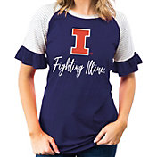 Gameday Couture Women's Illinois Fighting Illini Blue Striped Ruffle Sleeve T-Shirt