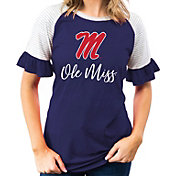Gameday Couture Women's Ole Miss Rebels Blue Striped Ruffle Sleeve T-Shirt
