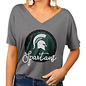Gameday Couture Women's Michigan State Spartans Grey Subtle Dolman Sleeve V-Neck T-Shirt