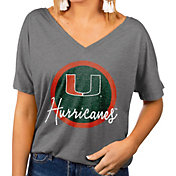 Gameday Couture Women's Miami Hurricanes Grey Subtle Dolman Sleeve V-Neck T-Shirt