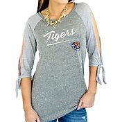 Gameday Couture Women's Memphis Tigers Grey Tie ¾ Sleeve Raglan Shirt