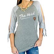 Gameday Couture Women's Marshall Thundering Herd Grey Tie ¾ Sleeve Raglan Shirt