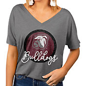 Gameday Couture Women's Mississippi State Bulldogs Grey Subtle Dolman Sleeve V-Neck T-Shirt