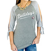 Gameday Couture Women's Mississippi State Bulldogs Grey Tie ¾ Sleeve Raglan Shirt