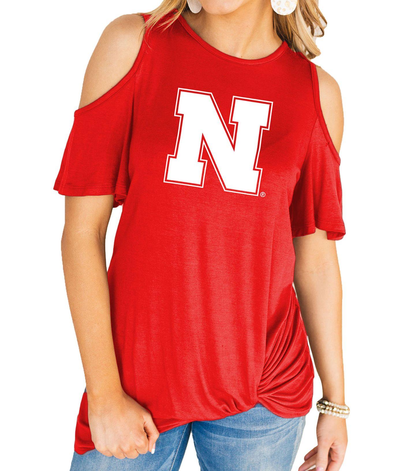 Gameday Couture Women's Nebraska Cornhuskers Scarlet Alma Mater Cold Shoulder T-Shirt