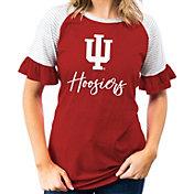 Gameday Couture Women's Indiana Hoosiers Crimson Striped Ruffle Sleeve T-Shirt