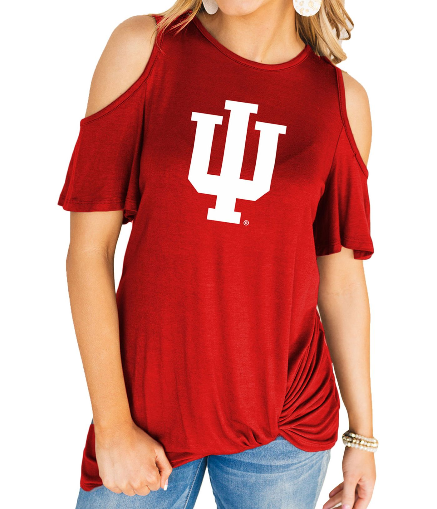 Gameday Couture Women's Indiana Hoosiers Crimson Alma Mater Cold Shoulder T-Shirt