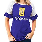 Gameday Couture Women's Tulsa Golden Hurricane Gold Striped Ruffle Sleeve T-Shirt
