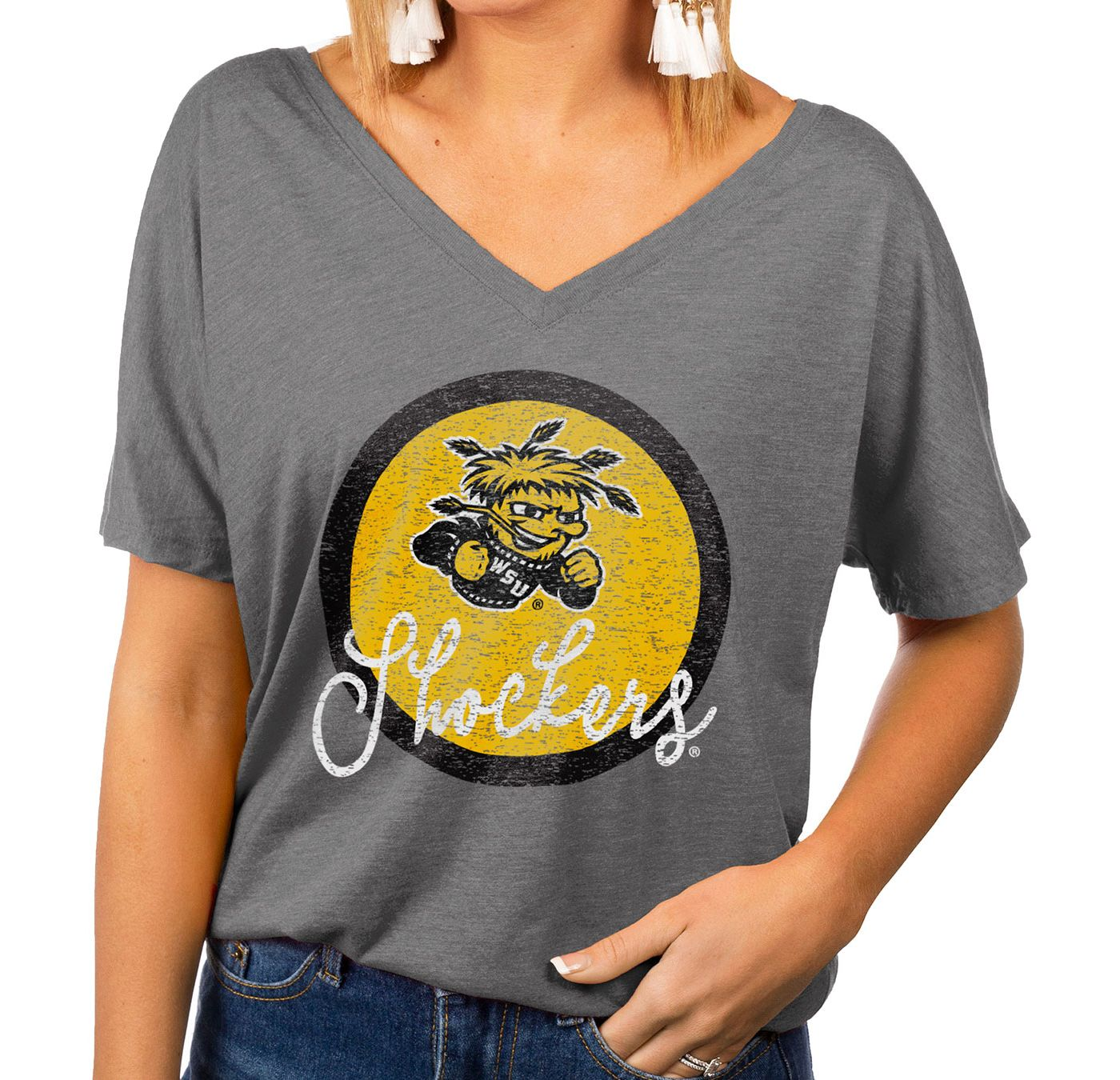 Gameday Couture Women's Wichita State Shockers Grey Subtle Dolman Sleeve V-Neck T-Shirt