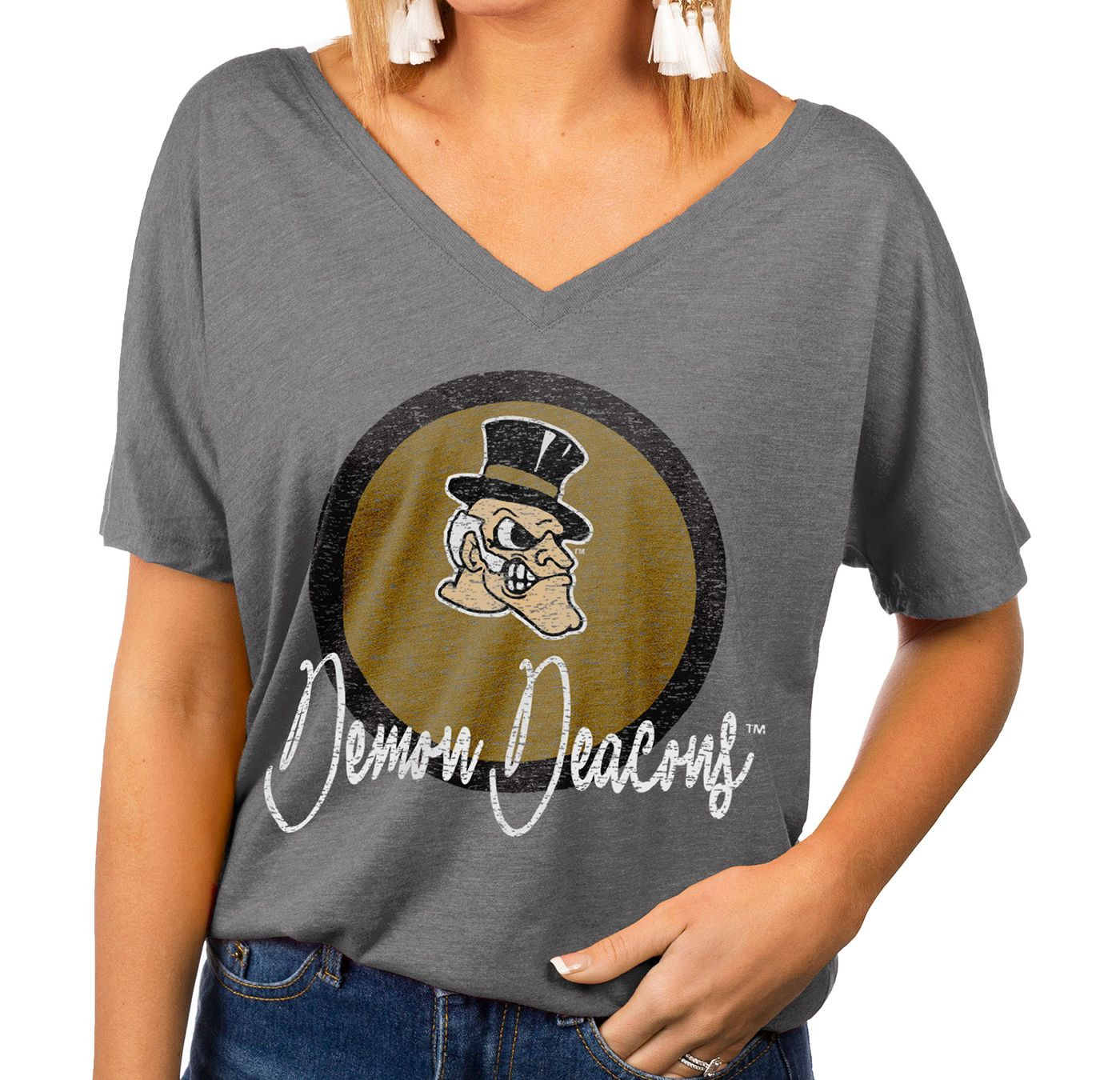 Gameday Couture Women's Wake Forest Demon Deacons Grey Subtle Dolman Sleeve V-Neck T-Shirt