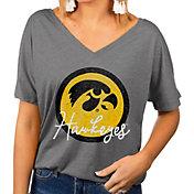Gameday Couture Women's Iowa Hawkeyes Grey Subtle Dolman Sleeve V-Neck T-Shirt