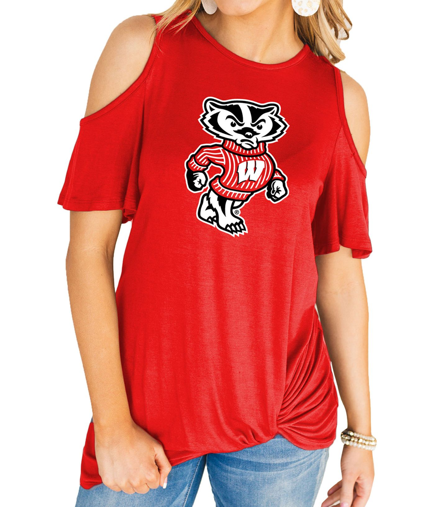 Gameday Couture Women's Wisconsin Badgers Red Alma Mater Cold Shoulder T-Shirt