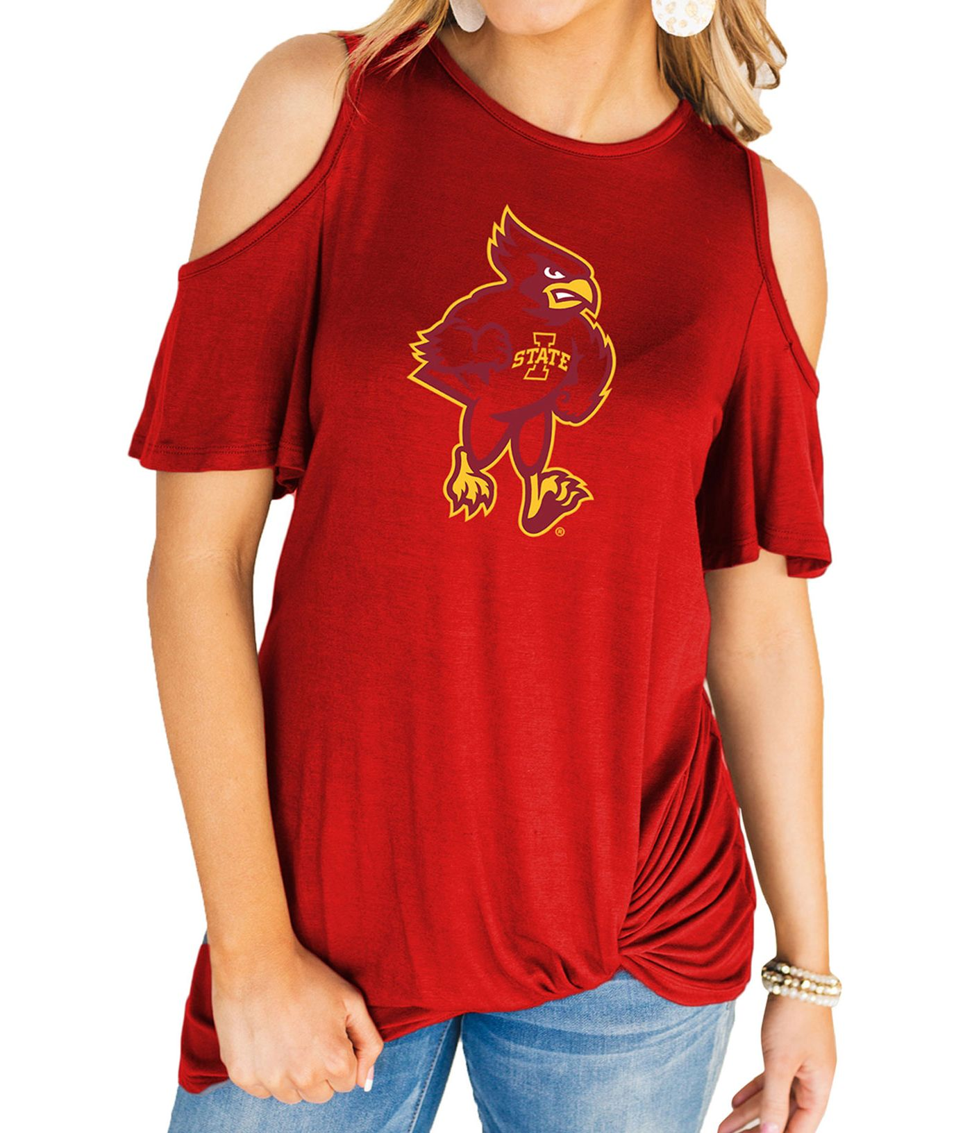 Gameday Couture Women's Iowa State Cyclones Cardinal Alma Mater Cold Shoulder T-Shirt
