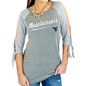 Gameday Couture Women's West Virginia Mountaineers Grey Tie ¾ Sleeve Raglan Shirt