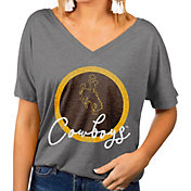 Gameday Couture Women's Wyoming Cowboys Grey Subtle Dolman Sleeve V-Neck T-Shirt