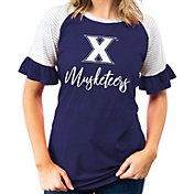 Gameday Couture Women's Xavier Musketeers Blue Striped Ruffle Sleeve T-Shirt