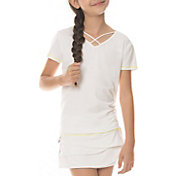 Lucky In Love Girls' Criss Cross Short Sleeve Tennis Shirt