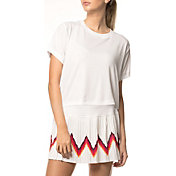 Lucky In Love Women's High-Low Groove Stripe Tennis T-Shirt
