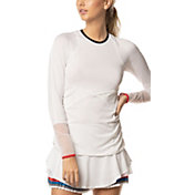 Lucky in Love Women's Bloomy Dimensions Open Up Long Sleeve Crew Neck Tennis T-Shirt