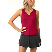 Lucky In Love Women's Ribbed Henley Tennis Tank