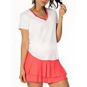 Lucky In Love Women's Shirttail V-Neck Tennis T-Shirt