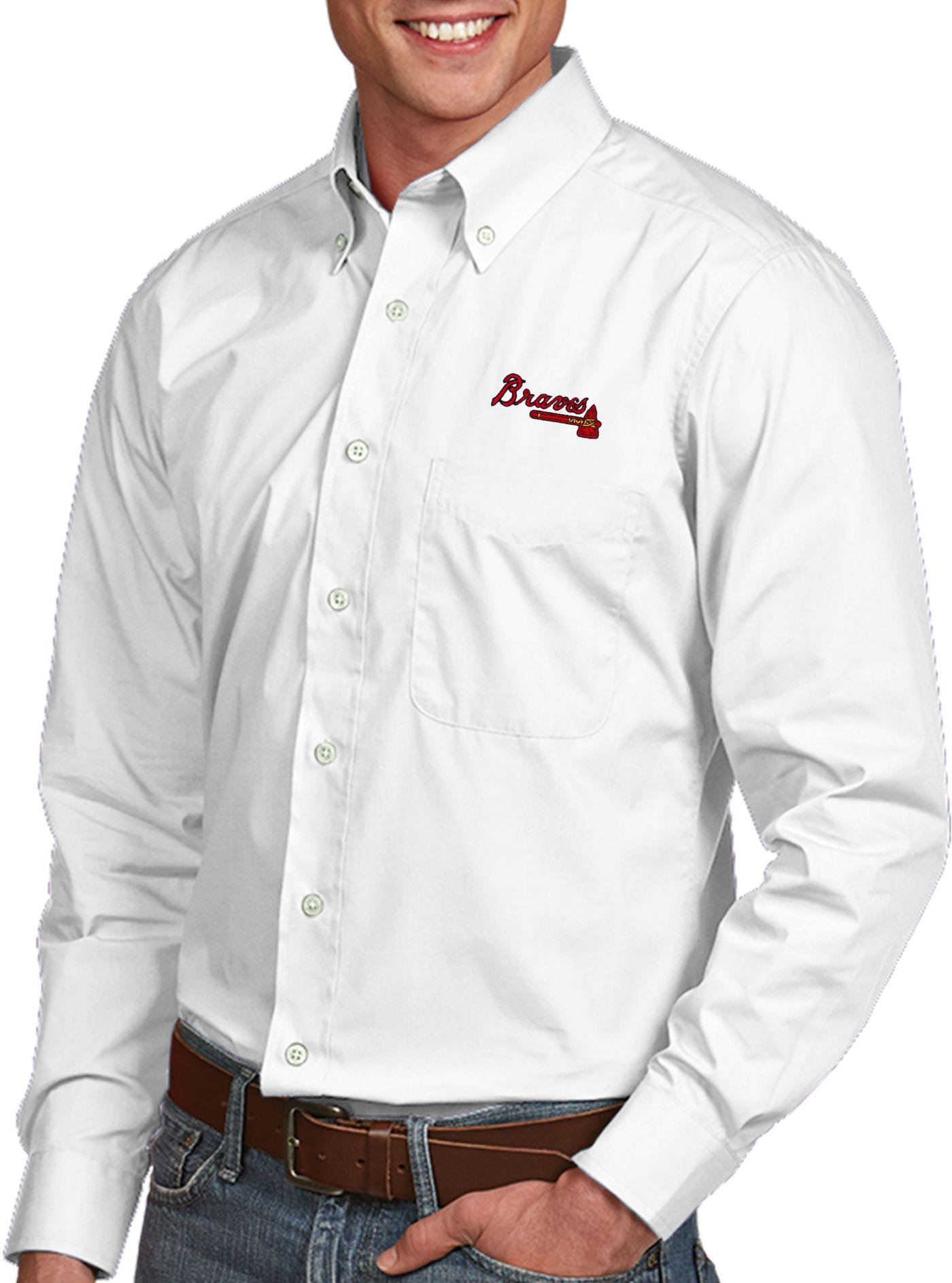 Antigua Men's Atlanta Braves Dynasty Button-Up White Long Sleeve Shirt