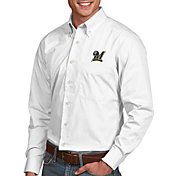 Antigua Men's Milwaukee Brewers Dynasty Button-Up White Long Sleeve Shirt
