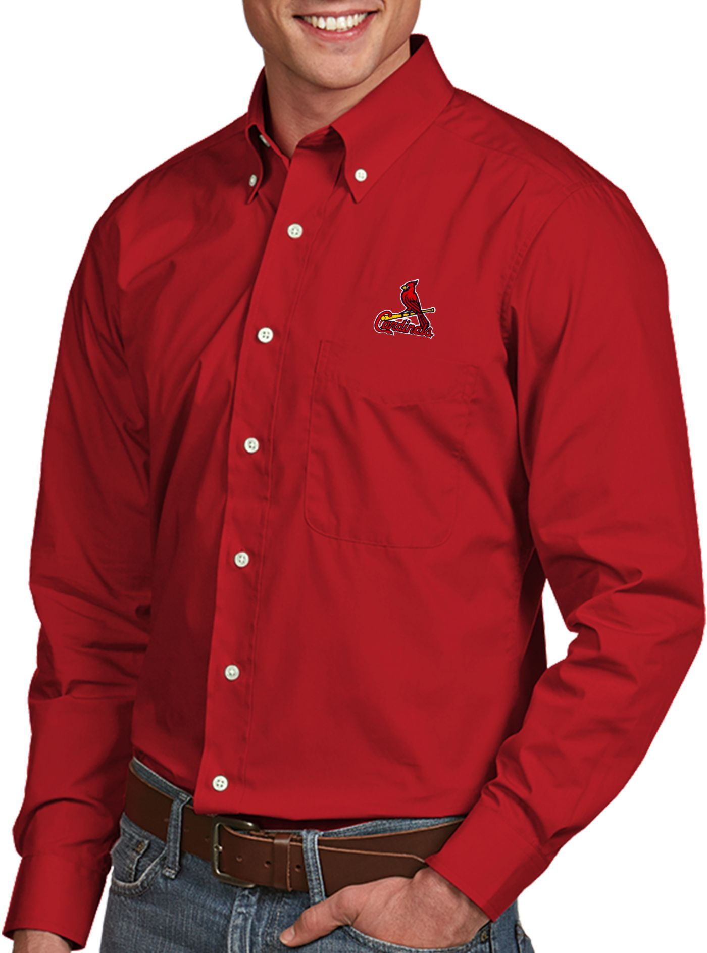 Antigua Men's St. Louis Cardinals Dynasty Button-Up Red Long Sleeve Shirt