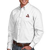 Antigua Men's St. Louis Cardinals Dynasty Button-Up White Long Sleeve Shirt