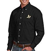 Antigua Men's Oakland Athletics Dynasty Button-Up Black Long Sleeve Shirt