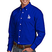 Antigua Men's Los Angeles Dodgers Dynasty Button-Up Royal Long Sleeve Shirt