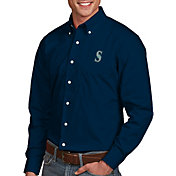 Antigua Men's Seattle Mariners Dynasty Button-Up Navy Long Sleeve Shirt